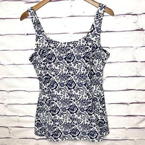 Shore Shapes Blue & White Floral Skirted Swimsuit